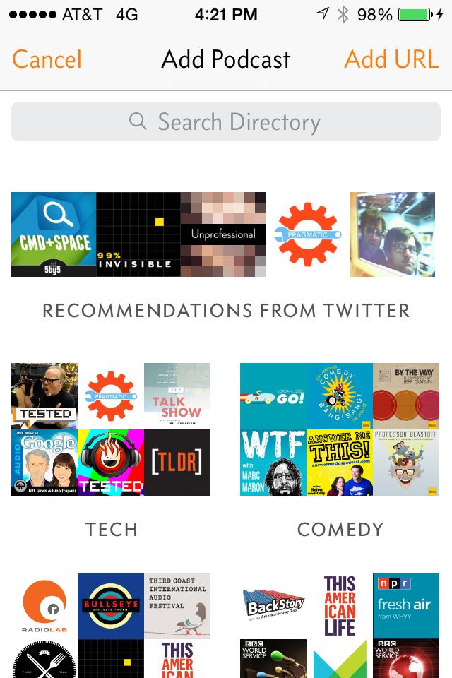 Overcast recommendation screenshot