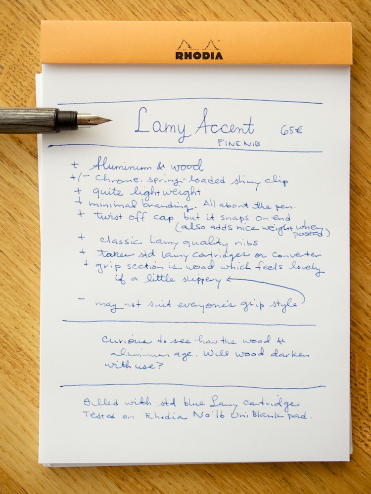 Lamy Accent Fountain Pen writing sample