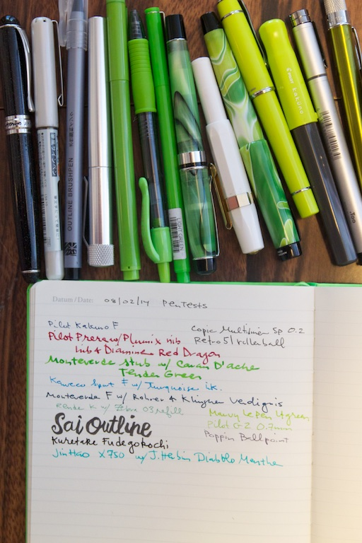 Leuchtturm 1917 Neon Green Notebook writing sample