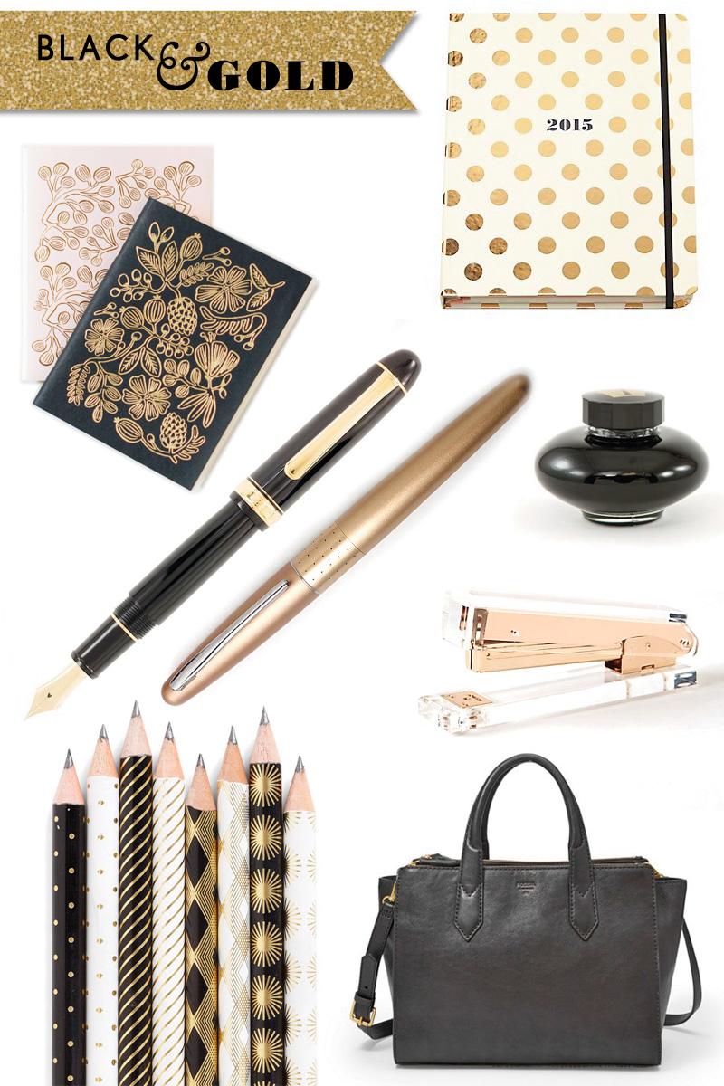 Fashionable Desk black & gold