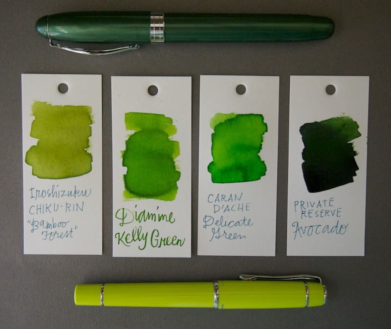 Diamine Kelly Green Ink Comparison