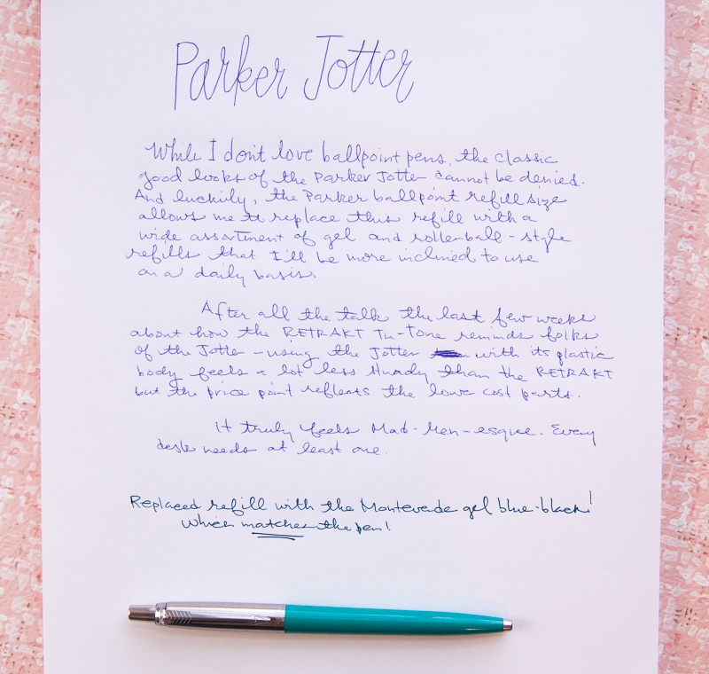 Parker Jotter writing sample