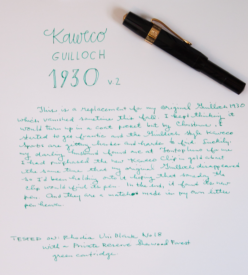 Kaweco Guilloch 1935 F nib writing sample