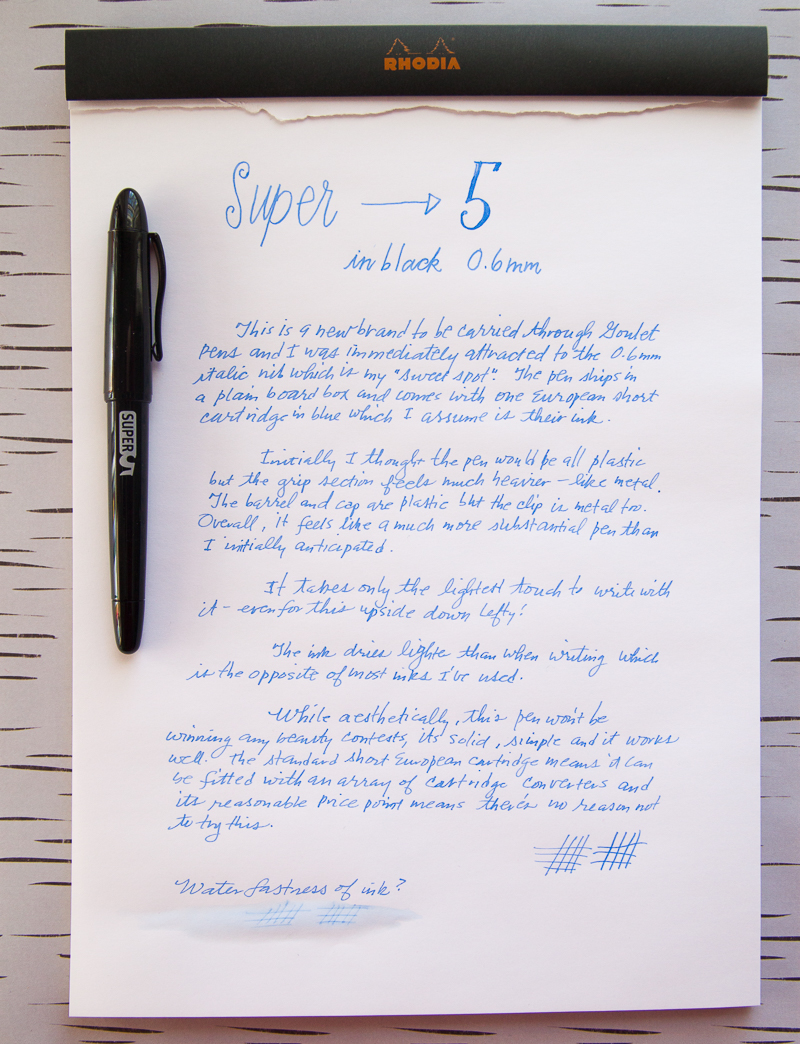 super5 writing sample