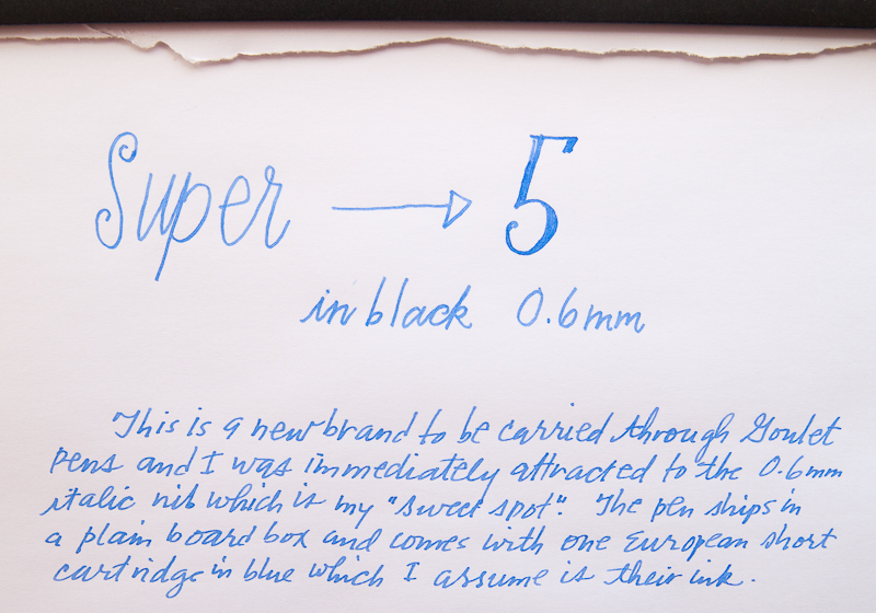 super5 writing close-up