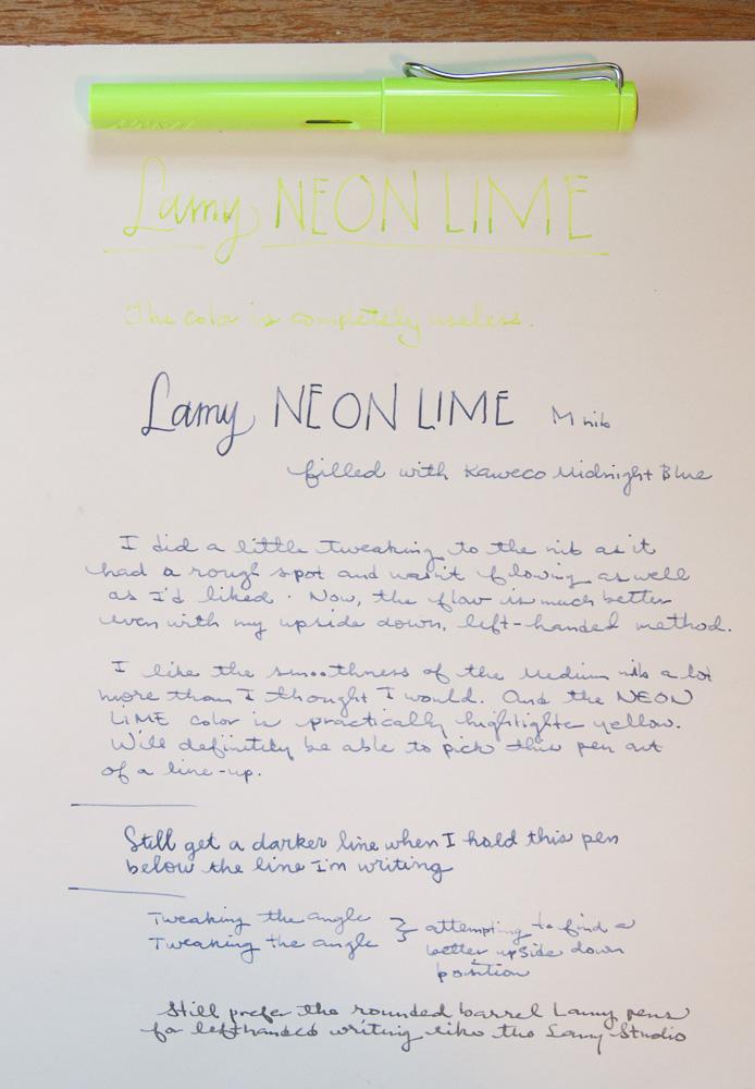 Lamy Neon Lime writing sample