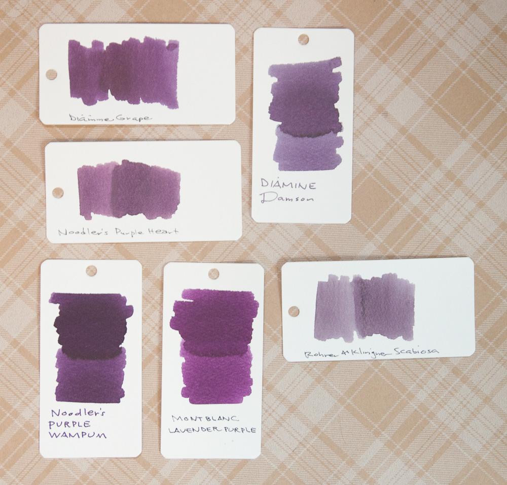 Noodlers Purple Wampum Diamine Damson ink swab comparison