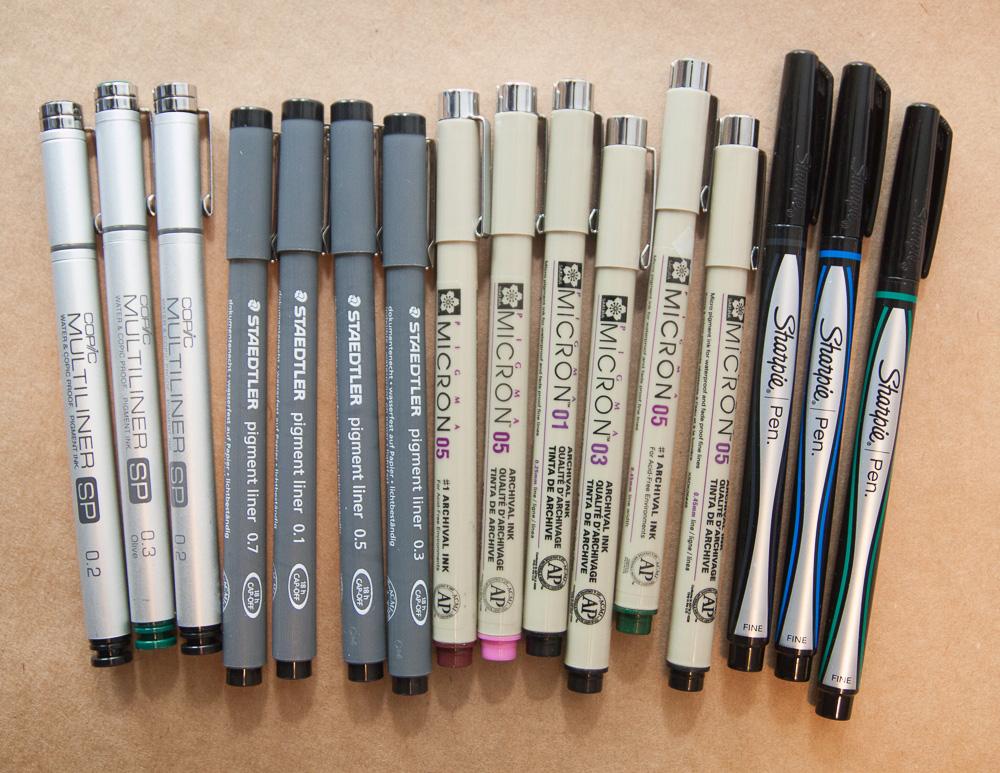 Pigment Pen Comparison Aka Archival Waterproof Felt Tip